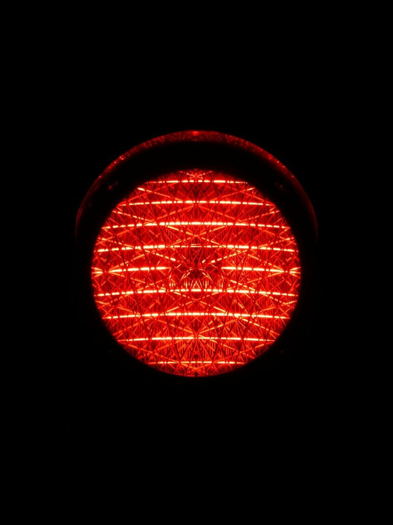 red traffic light to represent danger